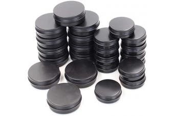 24 Pieces Black Round Aluminium Cans Screw Lid Metal Tins Jars Empty Slip Slide Containers (60ml+30ml)