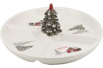 (4 SectionTray) - 10 Strawberry Street Winter Wonderland Ceramic 4-Section Snack Dish Christmas Platter, One Size, White