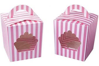 (15, Pink) - Large Single Cupcake Boxes Containers,Pink Individual Cardboard Cupcake Box Carrier with Insert & Handles and PVC Window For Birthday and Party Favours Pack of 15