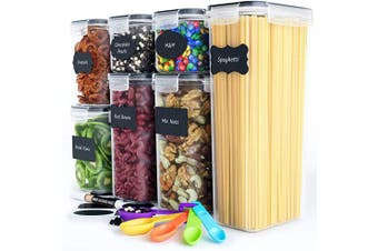 Chef's Path Airtight Food Storage Container Set - 7 PC - Kitchen & Pantry Organisation Ideal for Flour, Sugar, Cereal & More - BPA-Free - Plastic Canisters with Durable Lids - Labels, Marker & Spoons
