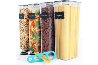 (Black) - Chef's Path Airtight Tall Food Storage Container Set - Ideal for Spaghetti, Noodles & Pasta - 4 PC/All Same Size - Kitchen & Pantry Organisation - Plastic Canisters with Durable Lids (Black)