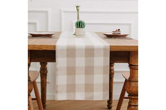 (Table Runner 30cm  x 300cm , Plaids Beige&white) - NATUS WEAVER Cotton Beige & White 2 Piece Fabric in 1 Buffalo Cheque Farmhouse Table Runner for Family Dinners or Gatherings, Indoor or Outdoor Parties, Everyday Use (30cm x 300cm )