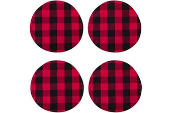 (Round Placemats 38cm , Plaids Red&black) - NATUS WEAVER Red & Black Cotton Buffalo Cheque Round Placemat, Set of 4, 38cm eco-Friendly Fabric Handcrafted Machine Washable Indoor & Outdoor Tablemat