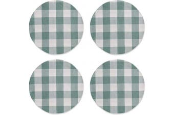 (Round Placemats 38cm , Plaids Greyish Green&white) - NATUS WEAVER Greyish Green & White Cotton Buffalo Cheque Plaid Round Placemat, Set of 4, 38cm eco-Friendly Fabric Handcrafted Machine Washable Indoor & Outdoor Tablemat