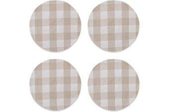 (Round Placemats 38cm , Plaids Beige&white) - Beige & White Cotton Buffalo Cheque Plaid Gingham Round Placemat, Set of 4, 38cm eco-Friendly Fabric Handcrafted Machine Washable Indoor & Outdoor Tablemat