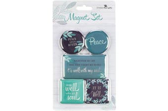 (Blue - Well With Soul) - Christian Art Gifts Teal Refrigerator Magnets | Well With My Soul Hymn | Inspirational Fridge Magnet Mini Variety Set/5