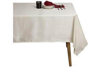 (150cm  x 260cm , Ivory) - Sense Gnosis Wedding Ivory Tablecloth for 1.8m Table 150cm x 260cm Waterproof Oil and Spill Proof Stain Resistant Table Cover for Tabletop Decorative, Dining Table, Parties, Holiday, Wedding