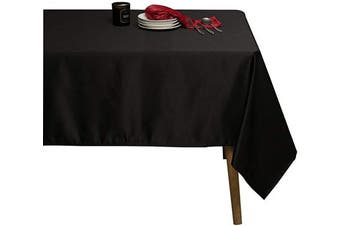 (150cm  x 300cm , Black) - Sense Gnosis Black Decor Tablecloth for Rectangle Table 150cm x 300cm Waterproof Oil and Spill Proof Stain Resistant Table Cover for Tabletop Decoration, Dining Table Cloths, Parties, Holiday, Wedding