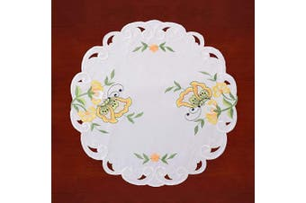 (Diameter 39cm , Yellow) - Simhomsen Embroidered Butterfly Round Small Table Doilies for Spring and Summer, Centrepieces, Set of 4 (Yellow, Diameter 39cm )