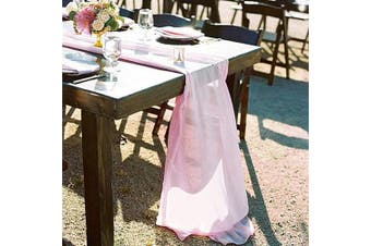 (1 piece, Pink Chiffon) - B-COOL Pink Sheer Table Runner Overlay Decorative Wrinkle Resistant for Pink Romantic Wedding Party Bridal Baby Shower Table Decoration 70cm x 300cm