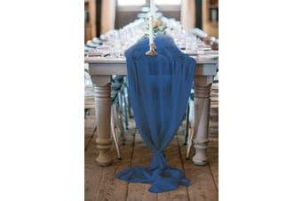 (5 pieces, Navy Blue) - Chiffon Conton Table Runner Overlay Romantic Decorations Chiffon Table Cover Wedding Birthday 70cm x 300cm