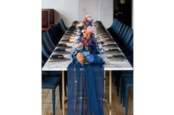 (15 pieces, Navy Blue) - Romantic Sheer Table Runner Rectangular Chiffon Tablecloth Fabric 70cm x 300cm Navy Blue Table Linens-15 Pieces