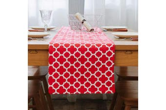 (12 X 60 Table Runner, Red) - NATUS WEAVER 2 Side Lattice Cotton Table Runner for Dining Room, Foyer Table, Summer Parties and Everyday Use - 12 x 60, Red
