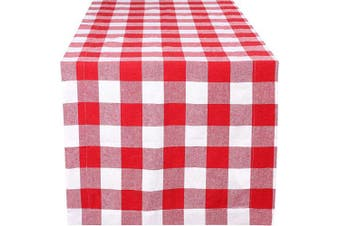 (16X90-Gingham Cheque, Red White) - Farmhouse Table Runner in Cotton Plaid Cheque Fabric,Decorative Table Runner,Party Table Runner,Picknic Runner,Rustic Bridal Shower Decor Table Runner,Wedding Table Runner-16x90 Red/white Set of 2