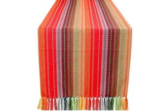 (16x90-Salsa, Red Multi) - Dining Table Runner Salsa Stripe With Fringes, Table Runners, Rustic Bridal Shower Décor, Birthday Party Table Runner- Tailored With Mitered Corner And A Generous Hem Easy care-41cm x 230cm - Red Multi