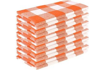 (18x18 - Gingham Napkins, Orange White) - Dinner Napkins In Plaid Cheque Fabric-18x18 Orange White,Wedding Napkins,100% cotton napkins,Cocktail Napkins,Cloth Napkins,Fabric Napkins,Cloth Napkins Set of 12,Cheque Cloth Napkins,Machine Washable
