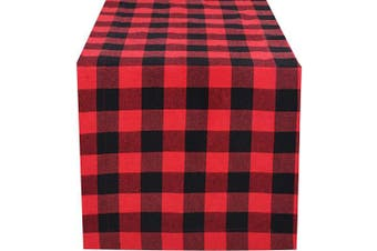 (16x72-Cheque 1 Pack, Red Black) - Light & Pro Gingham Cheque Table Runner, Table Runner, Farmhouse Table Runner, 4th of July Table Runner, Tailored with Mitered Corners and A Generous Hem Easy Care - 41cm x 180cm - Red Black