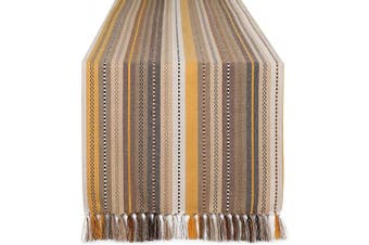 (16x90-Salsa, Beige Multi) - Dining Table Runner Salsa Stripe With Fringes, Table Runners, Rustic Bridal Shower Décor, Decorative Table Runner, Tailored With Mitered Corners And A Generous Hem Easy care - 41cm x 230cm - Beige Multi