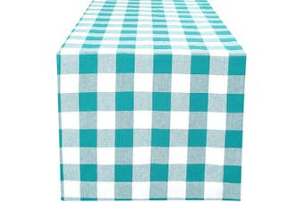 (16x90-Cheque 1 Pack, Teal White) - Dining Table Runner Gingham Cheque, Table Runners, Rustic Bridal Shower Décor, Bohemians Party Decorations, Tailored With Mitered Corner And A Generous Hem Easy care- 41cm x 230cm - Teal White