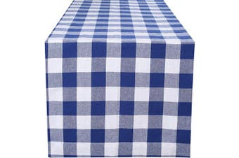 (16x72-Cheque 1 Pack, Navy White) - Dining Table Runner Gingham Cheque, Farmhouse Table Runner, Rectangular Table Runner, Reusable Table Runner, Tailored With Mitered Corner And A Generous Hem Easy care -41cm x 180cm -Navy White