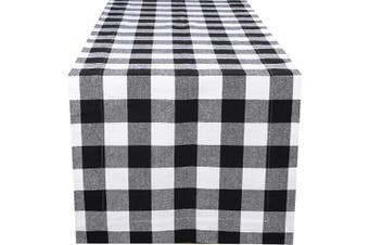 (16x90-Cheque 1 Pack, Black White) - Dining Table Runner Gingham Cheque, Table Runners, Rustic Bridal Shower Décor, Birthday Party Table Runner- Tailored With Mitered Corner And A Generous Hem Easy care-41cm x 230cm - Black White