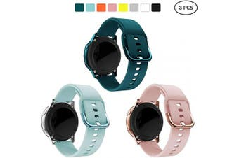(Pink+Darkblue+Blue) - Kitway Bands Compatible with Galaxy Watch Active/Active2/Galaxy Watch 42mm/Gear S2 Classic, 20mm Silicone Replacement Strap for Galaxy Watch Active (40mm)/Active 2 40mm 44mm Smart Watch