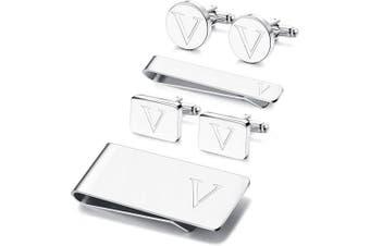 (V) - Adramata 6 PCS Engraved Initial Cufflinks Tie Bar Money Clip Set Shirt Alphabet Letter Wallet Tie Clip and Cufflink Set