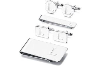 (L) - Adramata 6 PCS Engraved Initial Cufflinks Tie Bar Money Clip Set Shirt Alphabet Letter Wallet Tie Clip and Cufflink Set