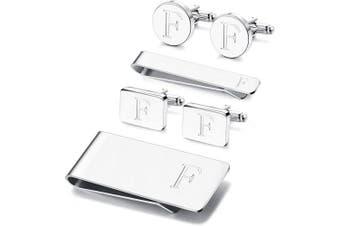 (F) - Adramata 6 PCS Engraved Initial Cufflinks Tie Bar Money Clip Set Shirt Alphabet Letter Wallet Tie Clip and Cufflink Set