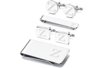 (Z) - Adramata 6 PCS Engraved Initial Cufflinks Tie Bar Money Clip Set Shirt Alphabet Letter Wallet Tie Clip and Cufflink Set