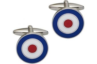 Code Red Base Metal Rhodium Plated with Blue, White and Red Enamel Cufflinks