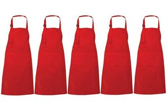 (5, Red) - RAJRANG BRINGING RAJASTHAN TO YOU 100% Cotton Bulk Aprons Set of 5 Premium Quality - Restaurant Serving 3 Pocket Extra Long Ties BBQ Apron for Cooking and Baking - Red - 90cm x 70cm
