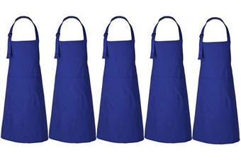 (5, Blue) - RAJRANG BRINGING RAJASTHAN TO YOU Bulk Aprons Set of 5 Pieces - Professional Restaurant Cooking Chef Apron for Women and Men - Blue - 90cm x 70cm
