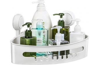 (shower caddy) - Corner Shower Caddy Suction Cup Plastic Shower Holder for Shampoo Soap, Removable Wall Mount Bathroom Suction Caddy Corner Storage Basket for Bathroom & Kitchen Accessories