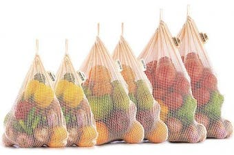 (1, Set of 6 - X Large, Large, Medium) - Reusable Cotton Mesh Produce Bags - 100%Organic Cotton - Reusable Produce Bags Cotton - NetZero Produce Bags - EcoFriendly Produce Bags - Biodegradable - Organic Cotton Mesh Bags (Set of 6 - XL, L, M)