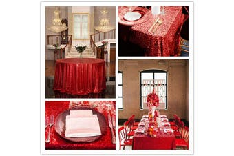 (Red) - B-COOL Red Sequin Tablecloth Round Tablecloth Sparkly Tablecloth 230cm Table Linen Wedding Table Cloth Home Decorations Kitchen Decor