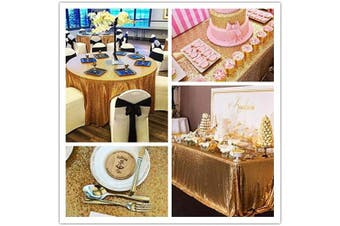 (Gold) - B-COOL Gold 90 Round Sequin Tablecloth Sparkly Sequin Overlay for Wedding Party/Dessert Table/Christmas Decoration