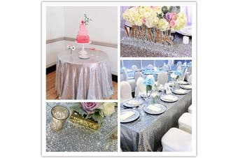 (Silver) - Sequin Tablecloth Glitter Table Linen Wedding Party Table Cover Bridal Shower Decor Silver 90 Round