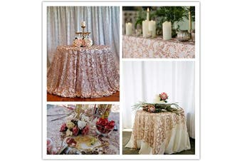 (Rose Gold Flower) - B-COOL 90Round Table Cloth Rose Gold Vine Sequin Table Cover Party Cake Tablecloth Sequin Linen for Wedding