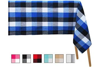 (Table Cloth (160cm  X 320cm ), Checked ( Navy and Black & White )) - Plaid Tablecloth Cotton - Buffalo Plaid Cotton Tablecloth - Navy Blue Buffalo Plaid Table Cloth - Checked Tablecloth Cotton - (Table Cloth (63 X 126), Checked (Navy and Black & White))