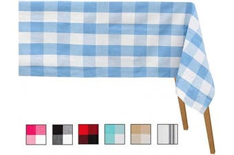 (Table Cloth (160cm  X 280cm ), Checked ( Blue and Cream )) - Blue Plaid Tablecloth - Buffalo Checked Tablecloth - Chequered Table Cloth - Buffalo Plaid Tablecloth - Chequered Blue Tablecloth (Table Cloth (63 X 109), Checked (Blue and White))