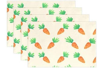 (30cm  x 46cm  (6pc), Carrot) - SUABO Easter Placemats Set of 6 Non Slip Heat-Resistant Washable Table Place Mats for Kitchen Dining Table Home Decoration 30cm x 46cm