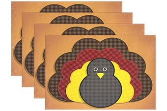 (30cm  x 46cm  (4pc), Turkey) - SUABO Thanksgiving Placemats 4PCS Turkey Heat-Resistant Dining Table Place Mats Washable PVC for Kitchen Dining Table Decor