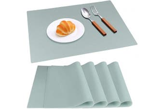 (Mint Green Place Mats) - IVYOUNG Large Reusable Silicone Placemats for Dining Kitchen Table Heat-Resistant Baking Mat Countertop Protector, Non-Slip Flexible Washable Dining Mats(Set of 4,Mint Green)