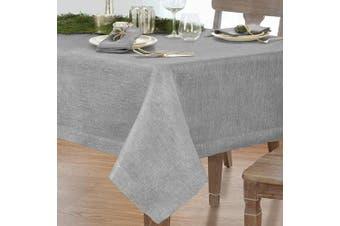 (180cm  x 320cm  (Tablecloth), Gray/Silver) - Villeroy and Boch La Classica 180cm x 320cm Oblong Tablecloth, 180cm W x 320cm L, Metallic Silver Grey