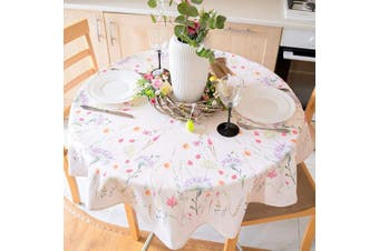 (Round 180cm , Ecru Easter2) - AHOLTA DESIGN Summer Floral Colouring Easter Tablecloth Non-Iron Stain Resistant Spring Table Cover Perfect for Easter Kitchen Indoor Dining Room Outdoor Easter Decorations (Ecru Easter2, Round 180cm )