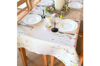 (Rectangle 150cm  x 260cm , Ecru Easter2) - Summer Floral Colouring Easter Tablecloth 2.4m Non-iron Stain Resistant Spring Table Cover Perfect for Easter Kitchen Indoor Dining Room Outdoor Easter Decorations (Ecru Easter2, Rectangle 150cm x 260cm )