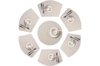 SHACOS Round Table Placemats Set of 7 Wedge Shaped Place Mat with Centrepiece Round Mat Heat Resistant Table Mats Washable (7, Beige)