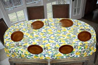 (140cm  x 180cm  Drop, Contemporary Lemon) - Covers For The Home Deluxe Stitched Edged Flannel Backed Vinyl Drop Tablecloth - Contemporary Lemon Pattern - 140cm x 180cm - Oval