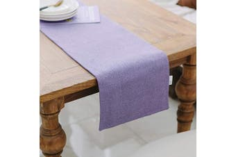 (Table Runner 30cm  x 180cm , Lilac) - NATUS WEAVER Soft Caddice Faux Linen Table Runner 2 Piece Fabric in 1 for Kitchen Family Dinners or Gatherings, Indoor or Outdoor Parties, Everyday Use (12 x 72, Seats 4-6 People), Lilac